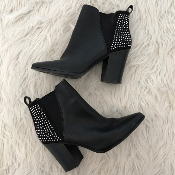 047b4229b3a A+ Aldo Shoes - A+ Aldo Black Studded Pointy Toe Heeled Boots
